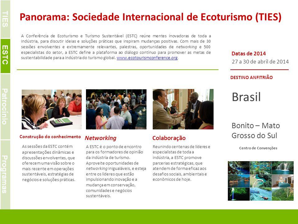 | IDEAS. OPPORTUNITIES. SOLUTIONS FOR SPONSORS & PARTNERS A Conferência de Ecoturismo e Turismo Sustentável (ESTC) reúne mentes inovadoras de toda a i