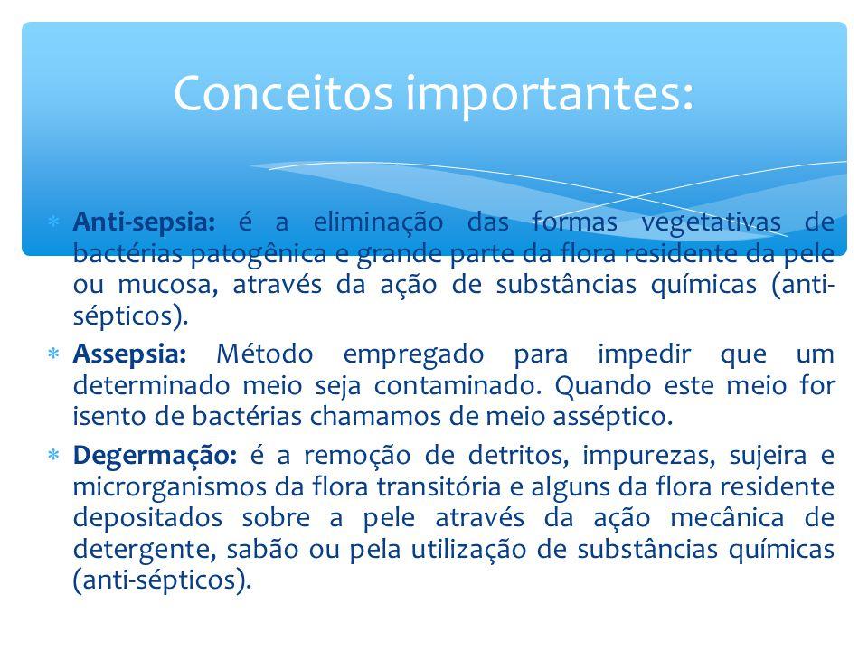  Desinfecção: é a eliminação de microrganismos patogênicos na forma vegetativa, geralmente é feita por meio químicos (desinfetantes).