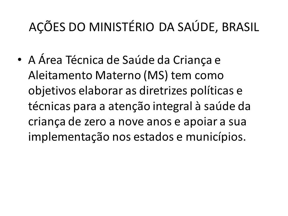 AÇÕES DO MINISTÉRIO DA SAÚDE, BRASIL • A Área Técnica de Saúde da Criança e Aleitamento Materno (MS) tem como objetivos elaborar as diretrizes polític
