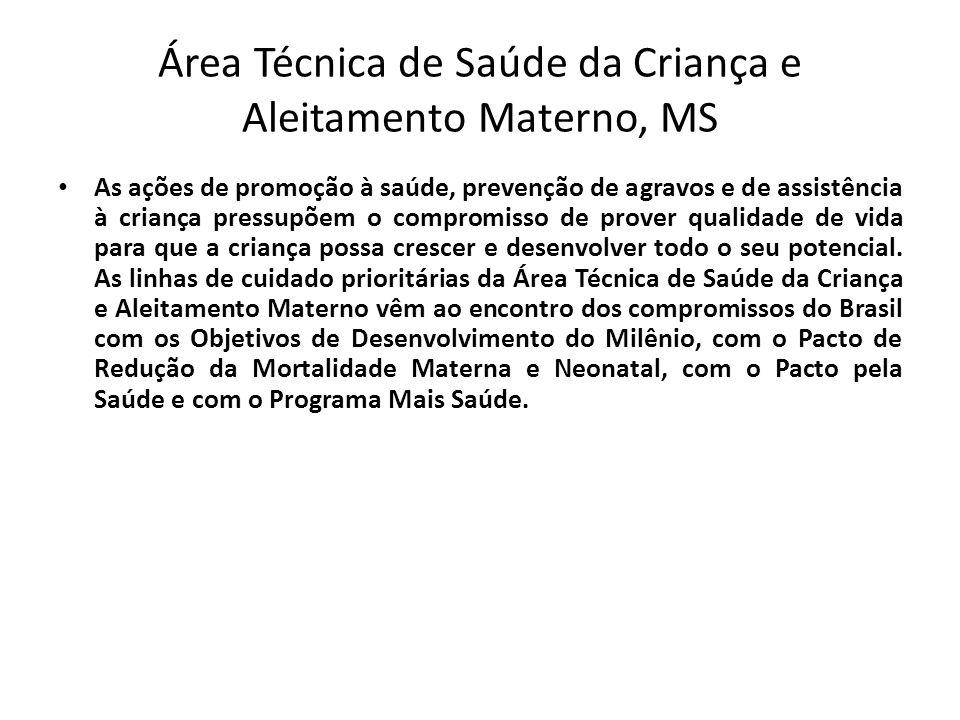 Área Técnica de Saúde da Criança e Aleitamento Materno, MS • As ações de promoção à saúde, prevenção de agravos e de assistência à criança pressupõem