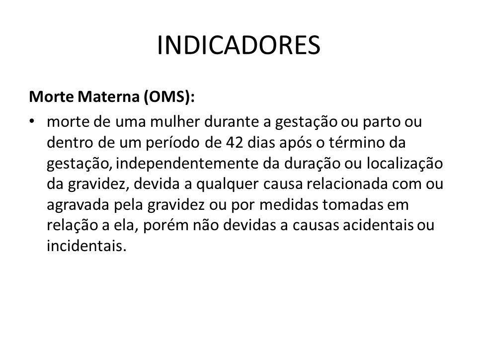 INDICADORES Morte Materna (OMS): • morte de uma mulher durante a gestação ou parto ou dentro de um período de 42 dias após o término da gestação, inde