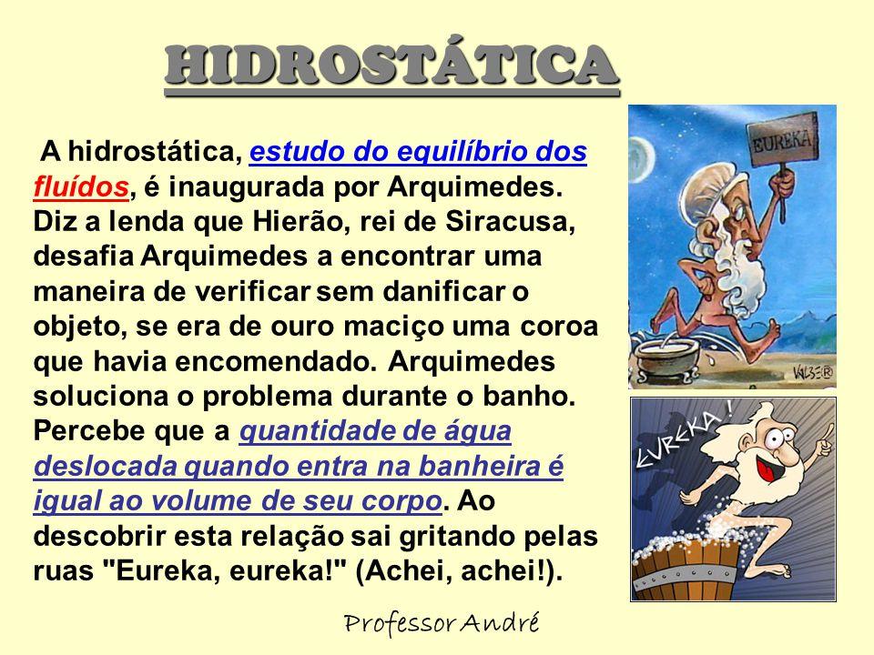 A hidrostática, estudo do equilíbrio dos fluídos, é inaugurada por Arquimedes. Diz a lenda que Hierão, rei de Siracusa, desafia Arquimedes a encontrar