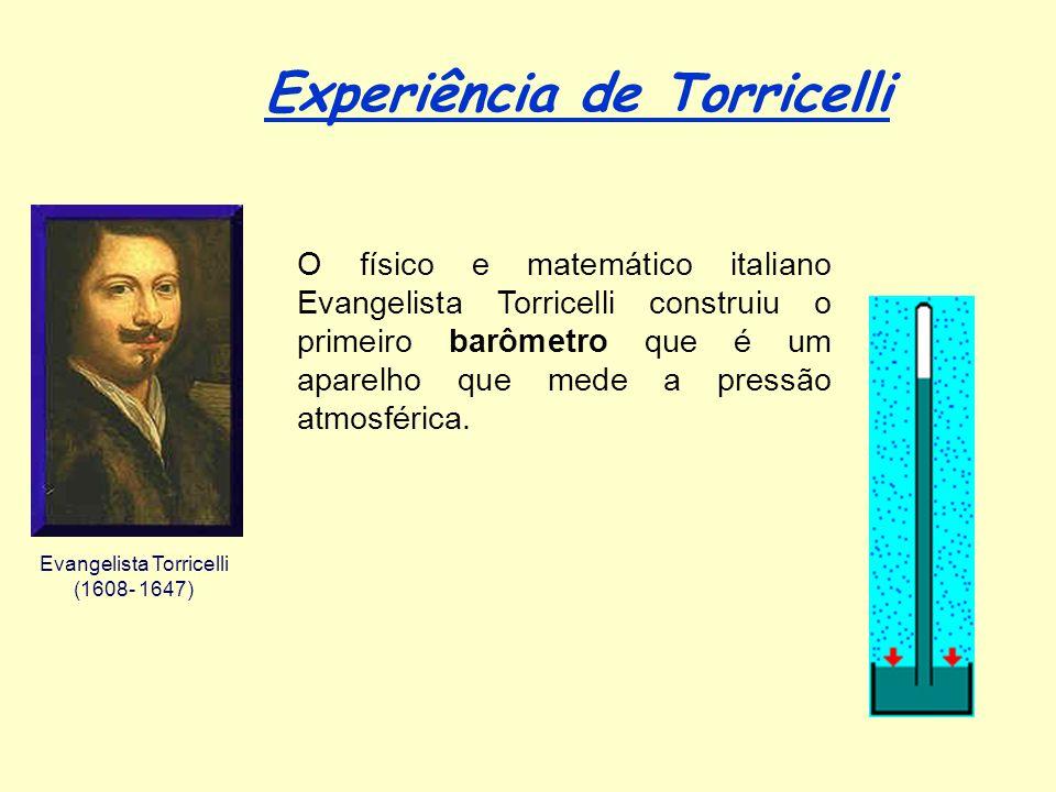 Experiência de Torricelli Evangelista Torricelli (1608- 1647) O físico e matemático italiano Evangelista Torricelli construiu o primeiro barômetro que é um aparelho que mede a pressão atmosférica.