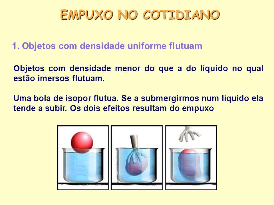 EMPUXO NO COTIDIANO 1. Objetos com densidade uniforme flutuam Objetos com densidade menor do que a do líquido no qual estão imersos flutuam. Uma bola