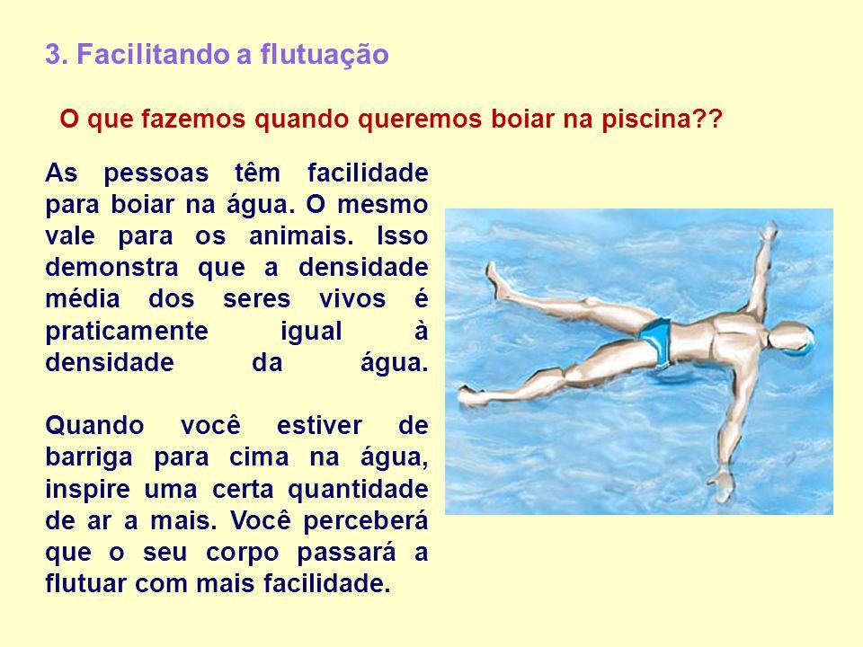 3. Facilitando a flutuação As pessoas têm facilidade para boiar na água. O mesmo vale para os animais. Isso demonstra que a densidade média dos seres