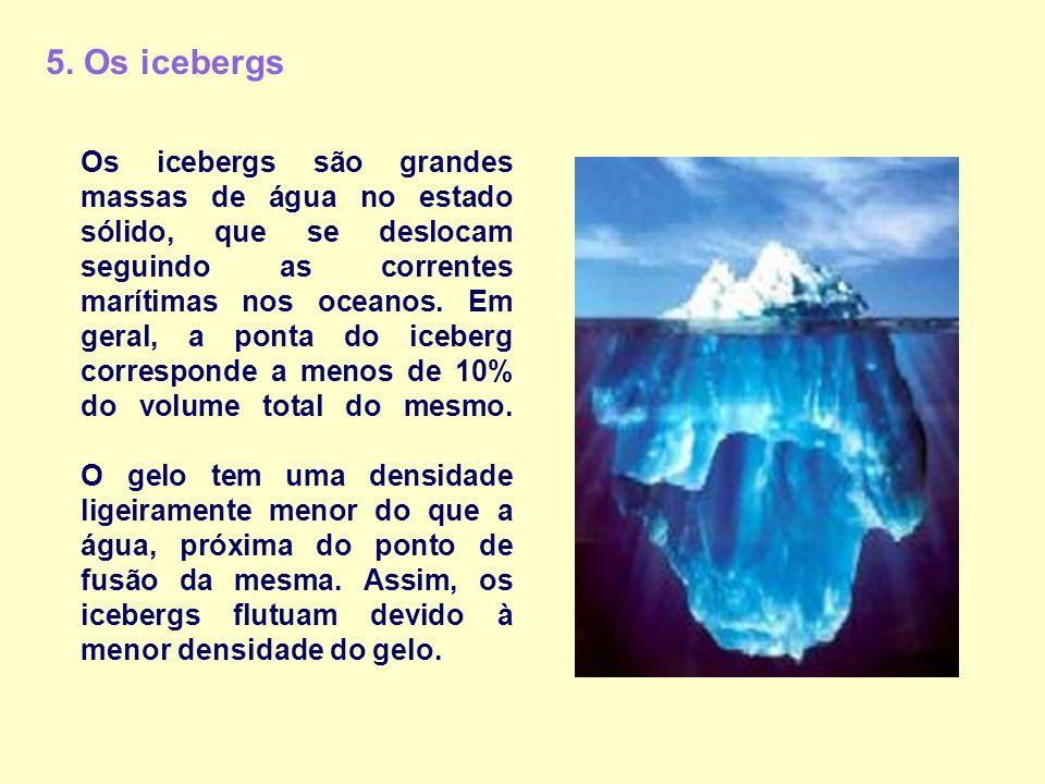 5. Os icebergs Os icebergs são grandes massas de água no estado sólido, que se deslocam seguindo as correntes marítimas nos oceanos. Em geral, a ponta