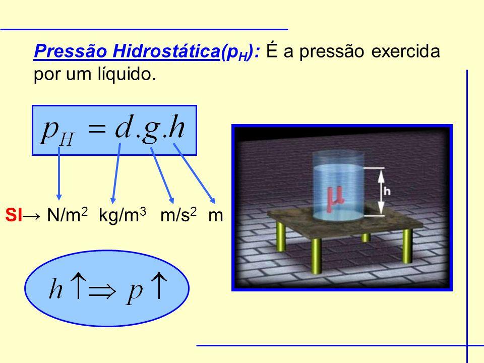 Para dois líquidos temos: P Hx = P ATM + d 1.g.h 1 + d 2.g.h 2 P ATM x