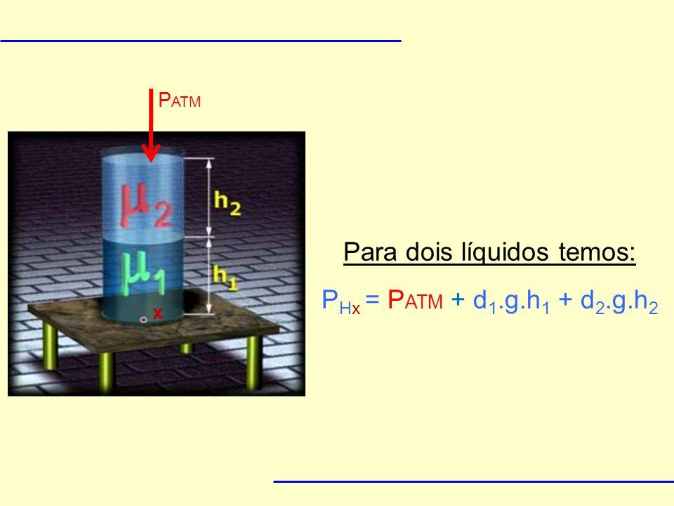 Teorema de Stevin Δp = d.g.Δh A pressão em dois pontos de mesma altura, dentro de um mesmo fluido é a mesma.