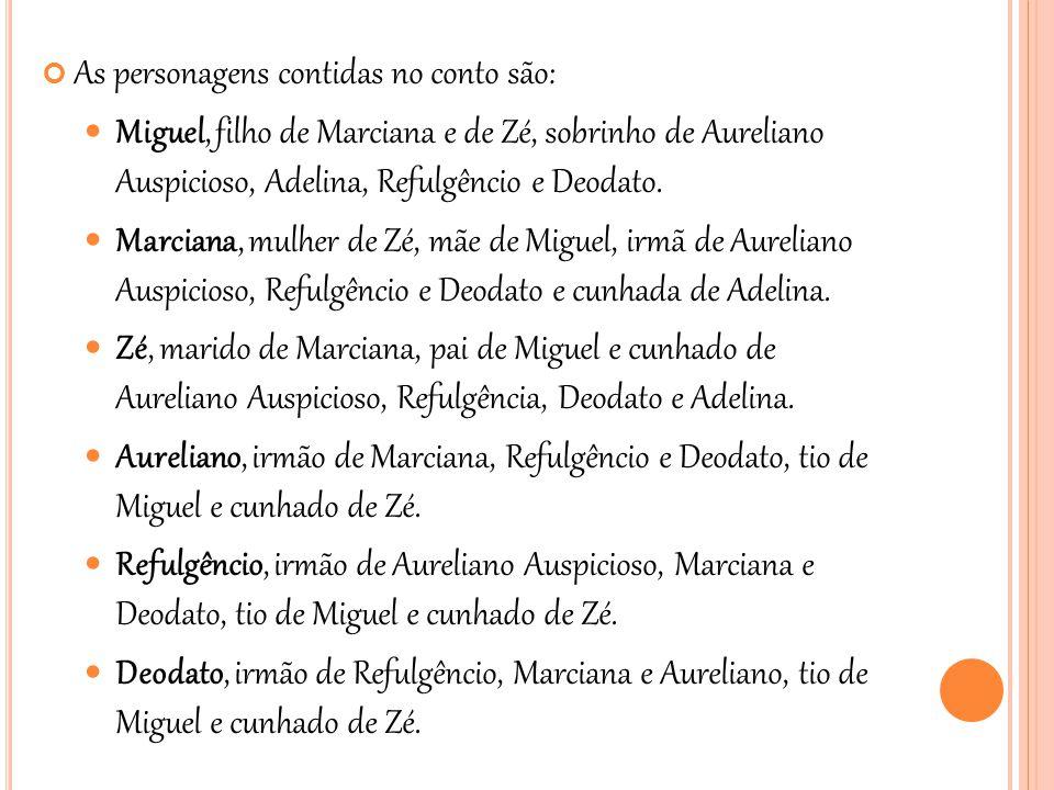 As personagens contidas no conto são:  Miguel, filho de Marciana e de Zé, sobrinho de Aureliano Auspicioso, Adelina, Refulgêncio e Deodato.  Marcian