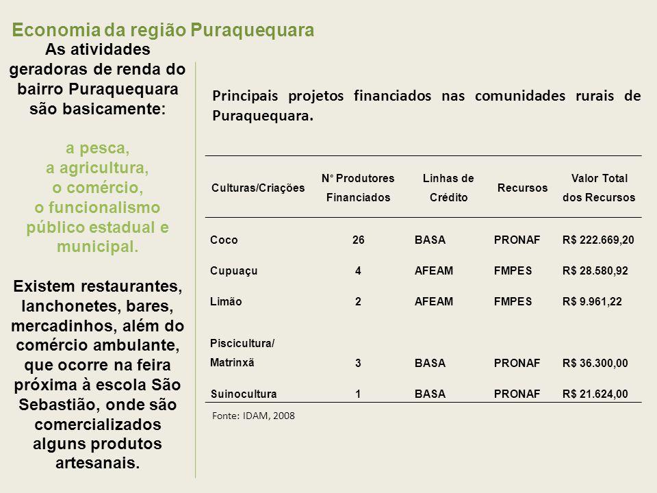 Economia da região Puraquequara As atividades geradoras de renda do bairro Puraquequara são basicamente: a pesca, a agricultura, o comércio, o funcionalismo público estadual e municipal.