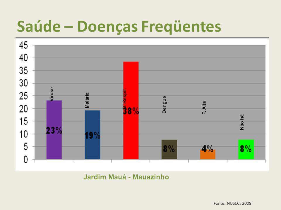 Saúde – Doenças Freqüentes Jardim Mauá - Mauazinho Fonte: NUSEC, 2008 Virose Malária D. Respir. Dengue P. Alta Não há