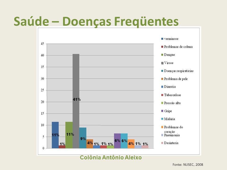Colônia Antônio Aleixo Saúde – Doenças Freqüentes Fonte: NUSEC, 2008