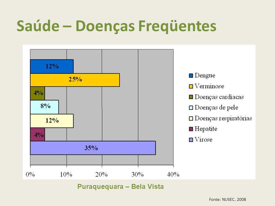 Puraquequara – Bela Vista Fonte: NUSEC, 2008 Saúde – Doenças Freqüentes