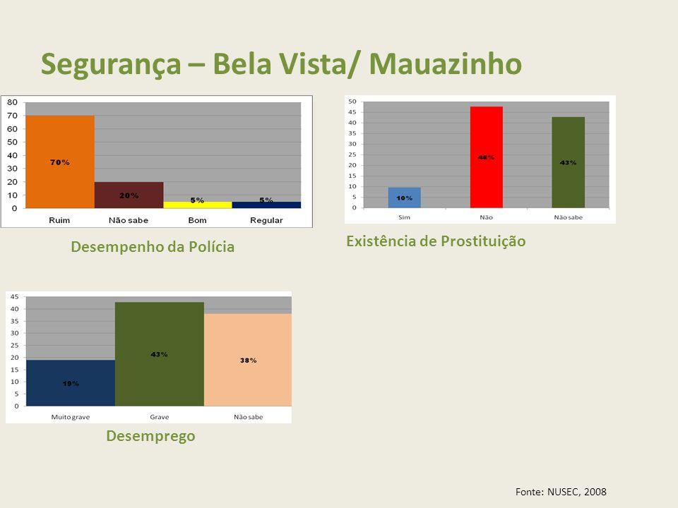 Segurança – Bela Vista/ Mauazinho Desempenho da Polícia Existência de Prostituição Desemprego Fonte: NUSEC, 2008