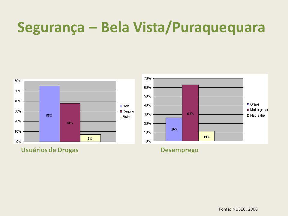 Segurança – Bela Vista/Puraquequara Usuários de DrogasDesemprego Fonte: NUSEC, 2008
