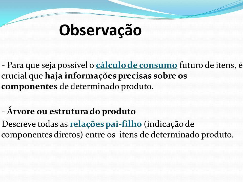 Observação - Para que seja possível o cálculo de consumo futuro de itens, é crucial que haja informações precisas sobre os componentes de determinado produto.