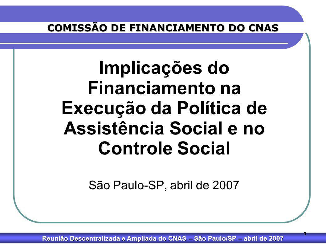 Reunião Descentralizada e Ampliada do CNAS – São Paulo/SP – abril de 2007 1 Implicações do Financiamento na Execução da Política de Assistência Social
