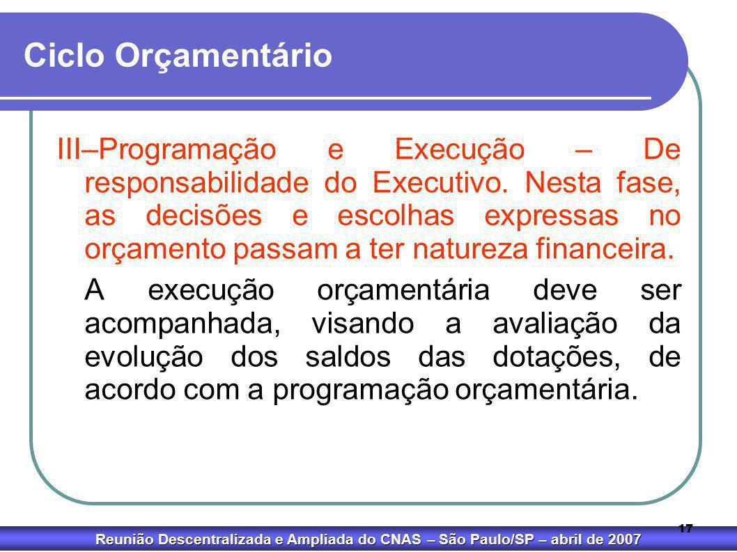Reunião Descentralizada e Ampliada do CNAS – São Paulo/SP – abril de 2007 17 Ciclo Orçamentário III–Programação e Execução – De responsabilidade do Ex