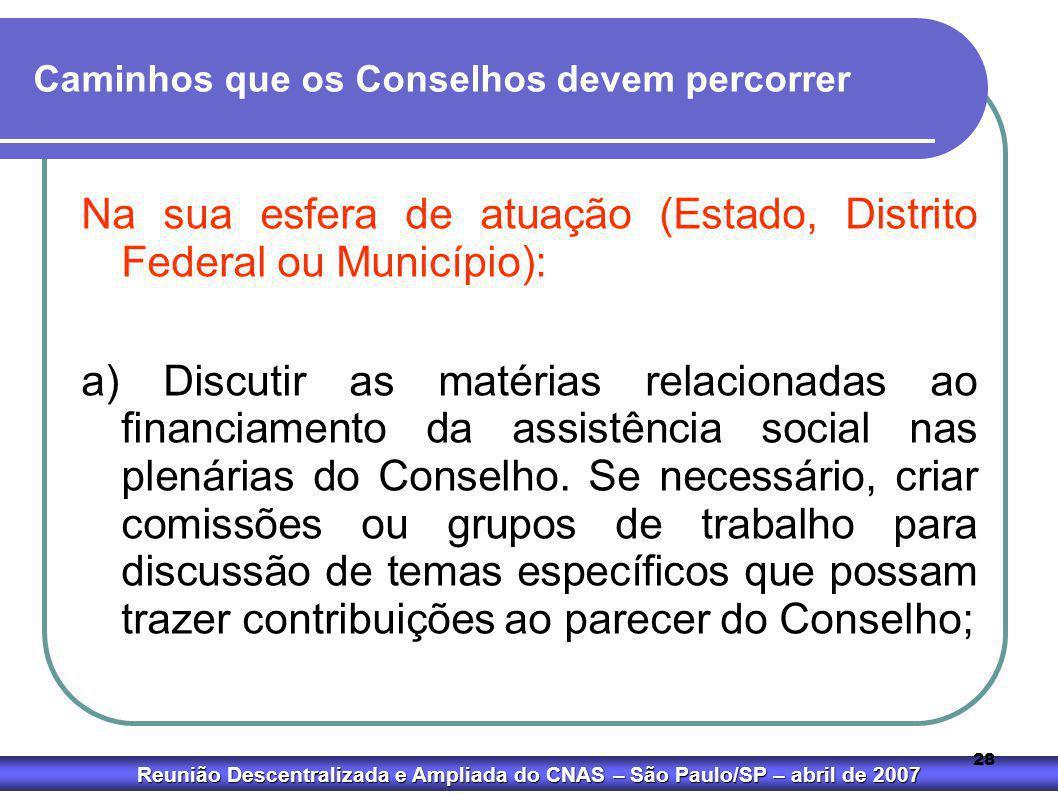 Reunião Descentralizada e Ampliada do CNAS – São Paulo/SP – abril de 2007 28 Caminhos que os Conselhos devem percorrer Na sua esfera de atuação (Estad