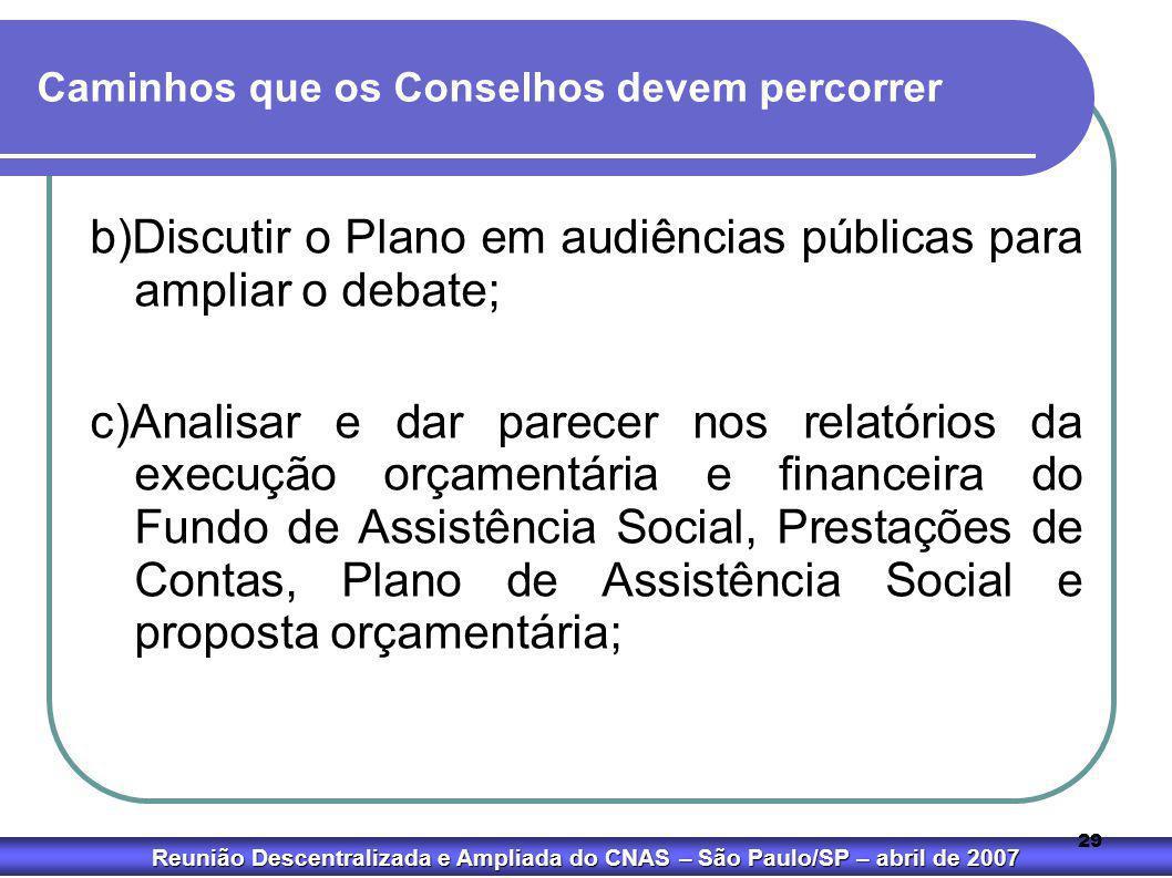Reunião Descentralizada e Ampliada do CNAS – São Paulo/SP – abril de 2007 29 Caminhos que os Conselhos devem percorrer b)Discutir o Plano em audiência