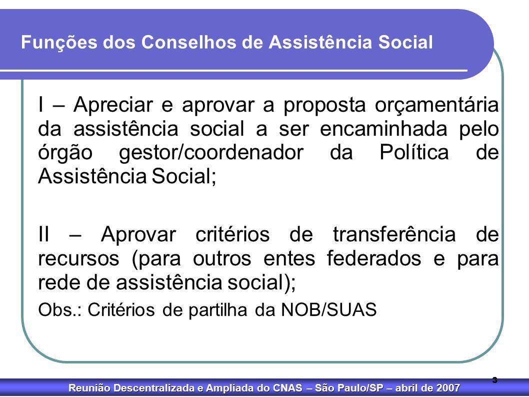 Reunião Descentralizada e Ampliada do CNAS – São Paulo/SP – abril de 2007 3 Funções dos Conselhos de Assistência Social I – Apreciar e aprovar a propo