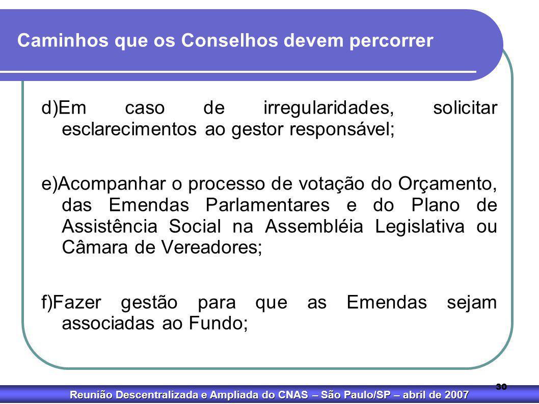 Reunião Descentralizada e Ampliada do CNAS – São Paulo/SP – abril de 2007 30 Caminhos que os Conselhos devem percorrer d)Em caso de irregularidades, s