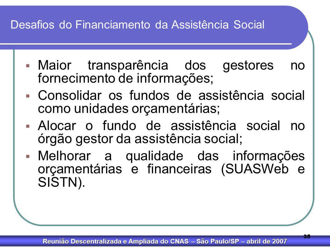 Reunião Descentralizada e Ampliada do CNAS – São Paulo/SP – abril de 2007 35 Desafios do Financiamento da Assistência Social  Maior transparência dos