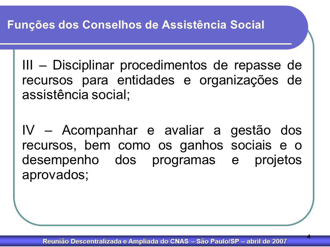 Reunião Descentralizada e Ampliada do CNAS – São Paulo/SP – abril de 2007 4 Funções dos Conselhos de Assistência Social III – Disciplinar procedimento