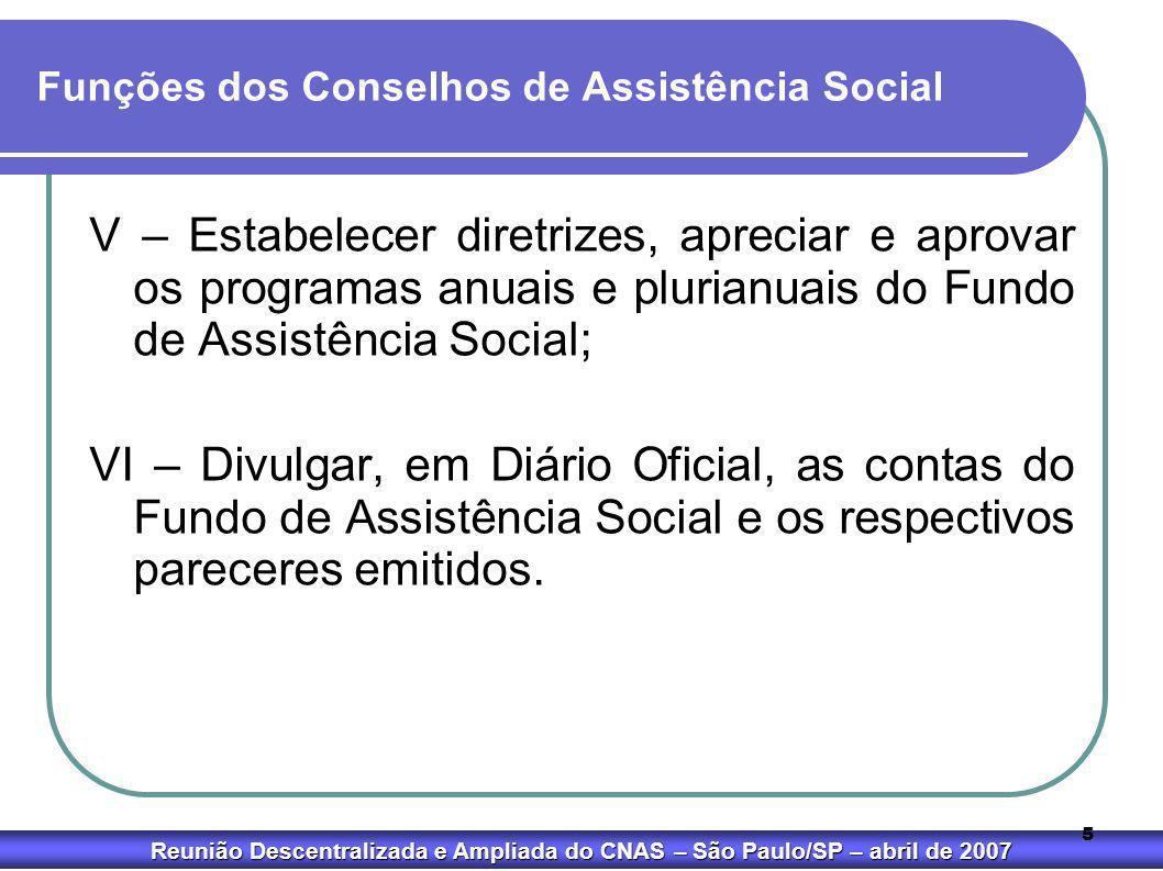 Reunião Descentralizada e Ampliada do CNAS – São Paulo/SP – abril de 2007 5 Funções dos Conselhos de Assistência Social V – Estabelecer diretrizes, ap