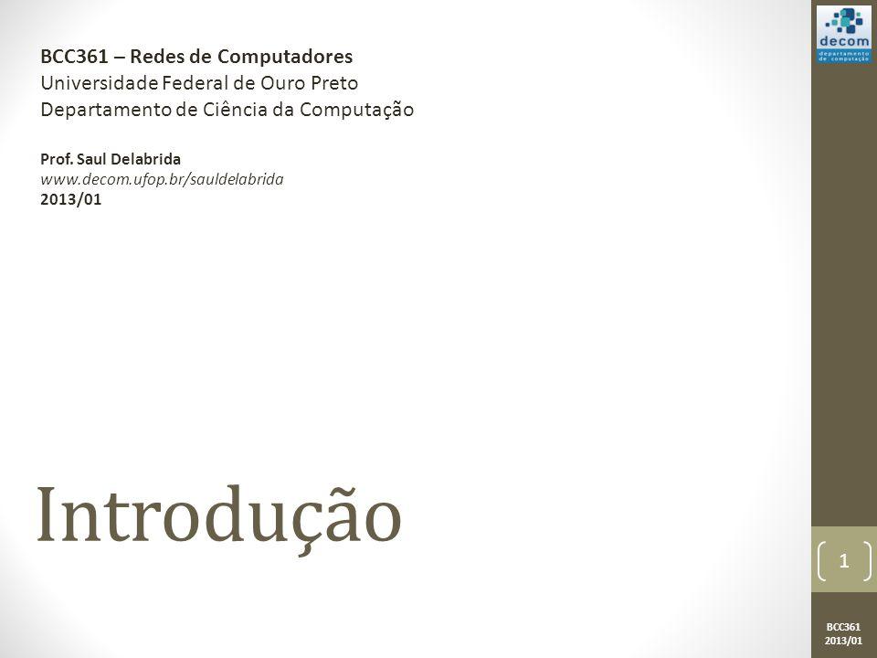 BCC361 2013/01 Introdução BCC361 – Redes de Computadores Universidade Federal de Ouro Preto Departamento de Ciência da Computação Prof.
