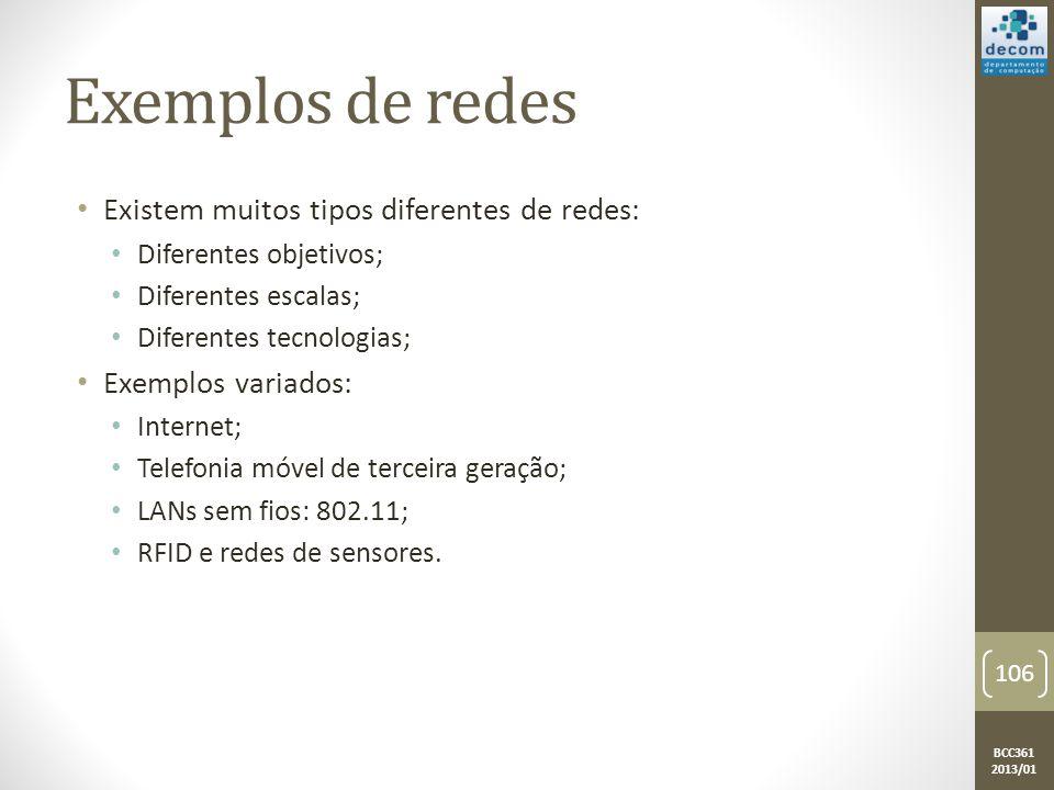 BCC361 2013/01 Exemplos de redes • Existem muitos tipos diferentes de redes: • Diferentes objetivos; • Diferentes escalas; • Diferentes tecnologias; • Exemplos variados: • Internet; • Telefonia móvel de terceira geração; • LANs sem fios: 802.11; • RFID e redes de sensores.