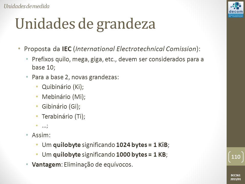 BCC361 2013/01 Unidades de grandeza • Proposta da IEC (International Electrotechnical Comission): • Prefixos quilo, mega, giga, etc., devem ser considerados para a base 10; • Para a base 2, novas grandezas: • Quibinário (Ki); • Mebinário (Mi); • Gibinário (Gi); • Terabinário (Ti); •...; • Assim: • Um quilobyte significando 1024 bytes = 1 KiB; • Um quilobyte significando 1000 bytes = 1 KB; • Vantagem: Eliminação de equívocos.