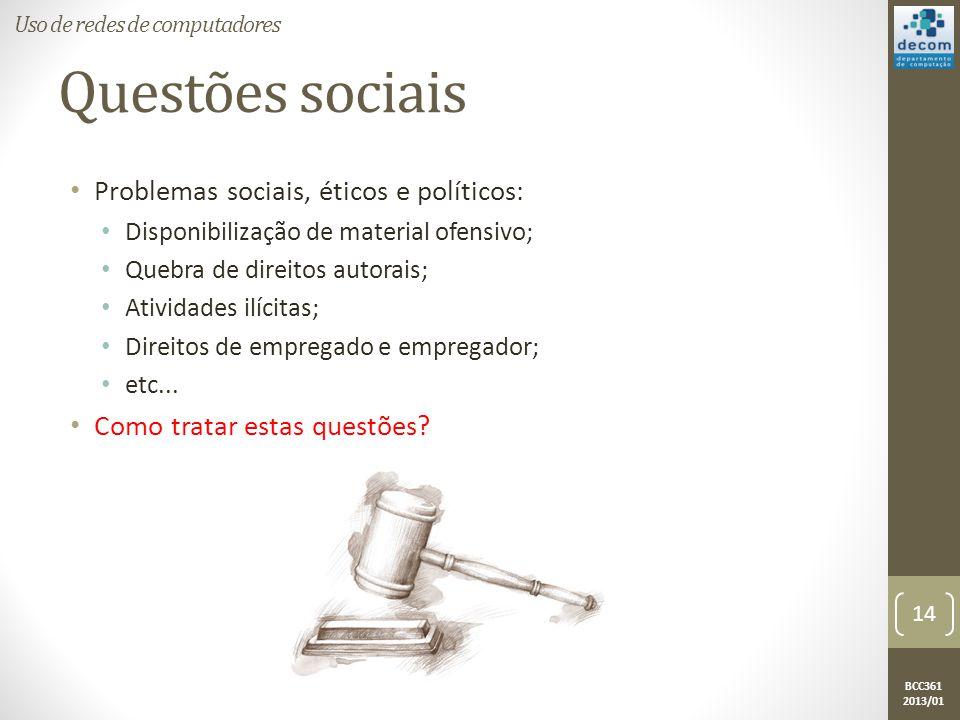 BCC361 2013/01 Questões sociais • Problemas sociais, éticos e políticos: • Disponibilização de material ofensivo; • Quebra de direitos autorais; • Atividades ilícitas; • Direitos de empregado e empregador; • etc...