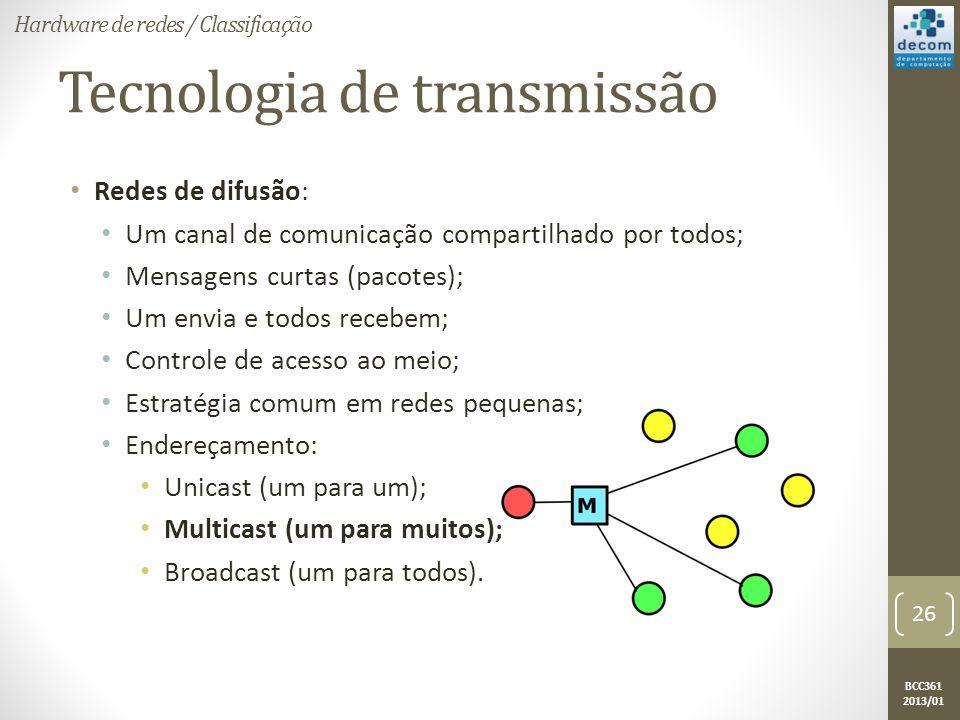 BCC361 2013/01 Tecnologia de transmissão • Redes de difusão: • Um canal de comunicação compartilhado por todos; • Mensagens curtas (pacotes); • Um envia e todos recebem; • Controle de acesso ao meio; • Estratégia comum em redes pequenas; • Endereçamento: • Unicast (um para um); • Multicast (um para muitos); • Broadcast (um para todos).