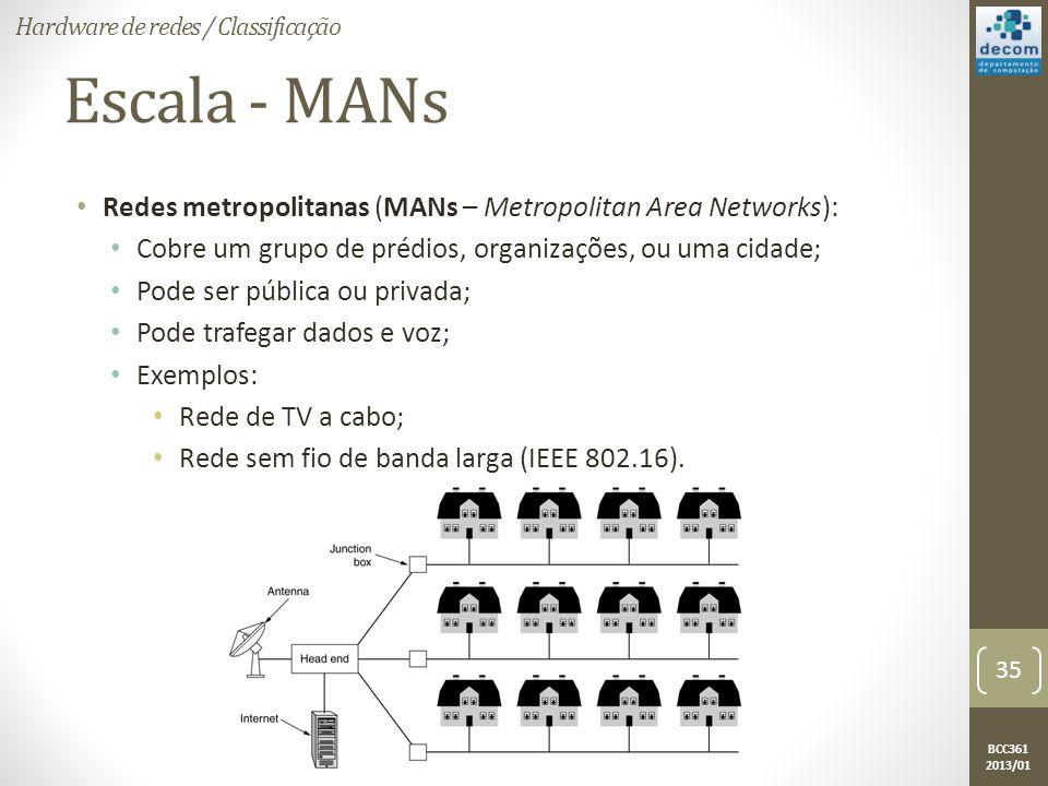 BCC361 2013/01 Escala - MANs • Redes metropolitanas (MANs – Metropolitan Area Networks): • Cobre um grupo de prédios, organizações, ou uma cidade; • Pode ser pública ou privada; • Pode trafegar dados e voz; • Exemplos: • Rede de TV a cabo; • Rede sem fio de banda larga (IEEE 802.16).
