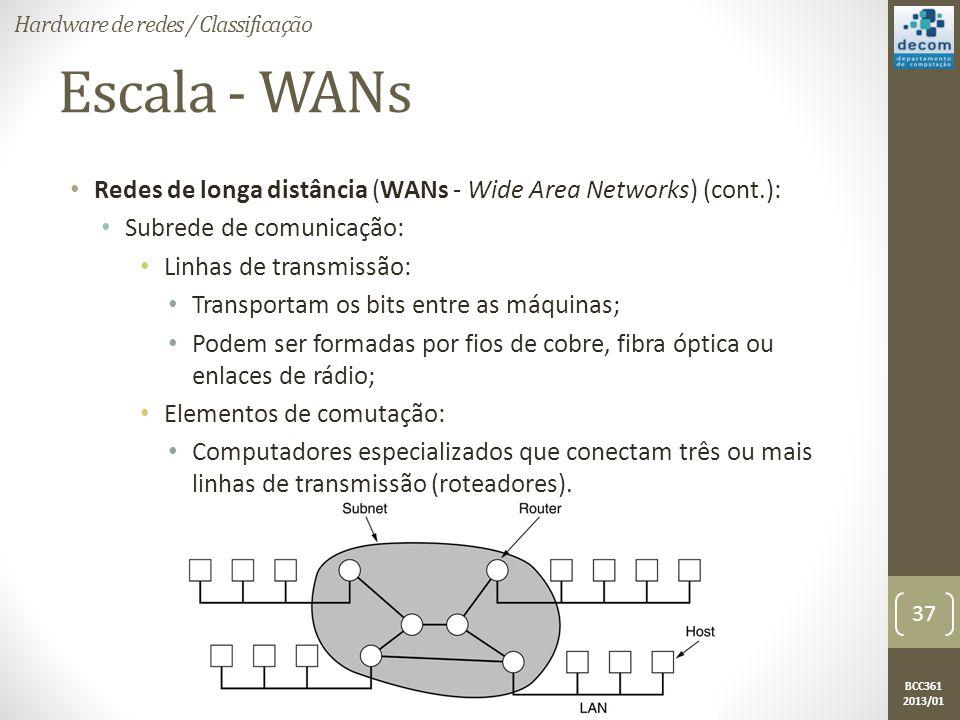 BCC361 2013/01 Escala - WANs • Redes de longa distância (WANs - Wide Area Networks) (cont.): • Subrede de comunicação: • Linhas de transmissão: • Transportam os bits entre as máquinas; • Podem ser formadas por fios de cobre, fibra óptica ou enlaces de rádio; • Elementos de comutação: • Computadores especializados que conectam três ou mais linhas de transmissão (roteadores).