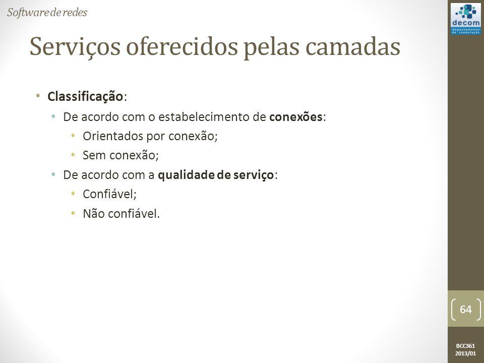 BCC361 2013/01 Serviços oferecidos pelas camadas • Classificação: • De acordo com o estabelecimento de conexões: • Orientados por conexão; • Sem conexão; • De acordo com a qualidade de serviço: • Confiável; • Não confiável.