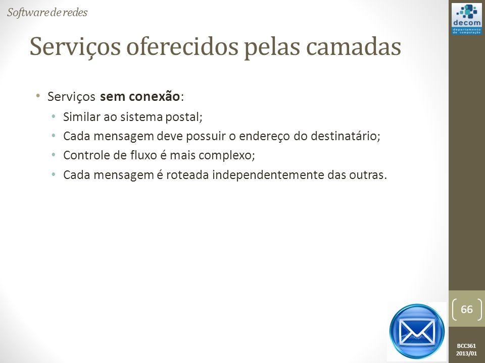 BCC361 2013/01 • Serviços sem conexão: • Similar ao sistema postal; • Cada mensagem deve possuir o endereço do destinatário; • Controle de fluxo é mais complexo; • Cada mensagem é roteada independentemente das outras.