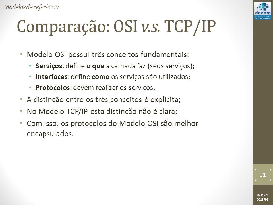 BCC361 2013/01 Comparação: OSI v.s.