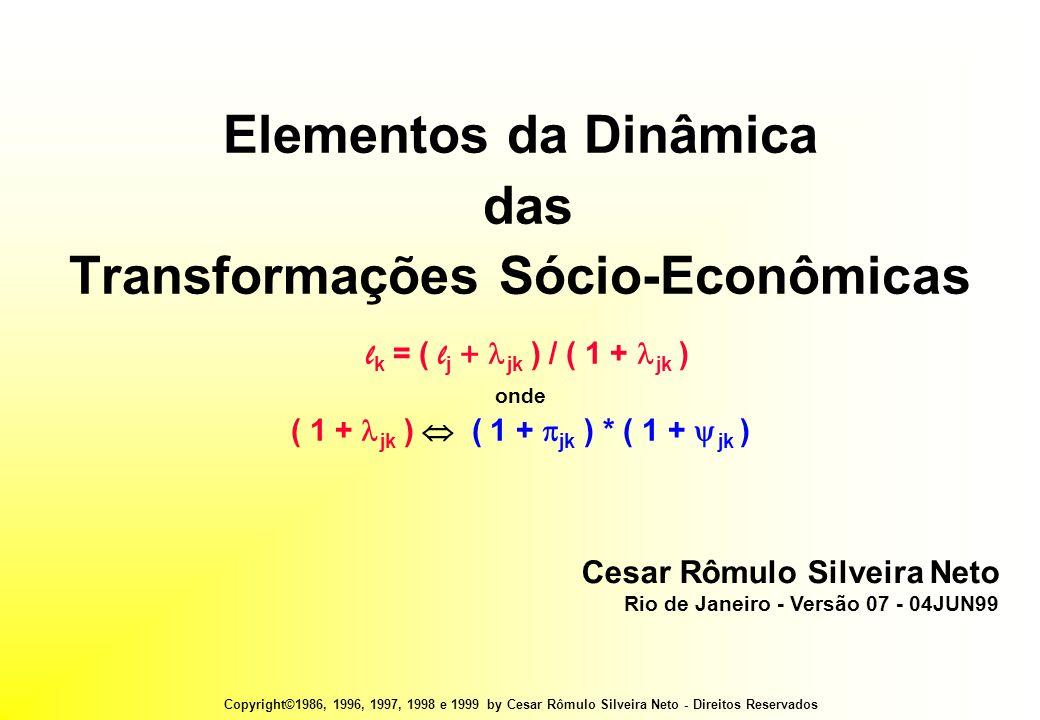 Copyright©1986, 1996, 1997, 1998 e 1999 by Cesar Rômulo Silveira Neto - Direitos Reservados Elementos da Dinâmica das Transformações Sócio-Econômicas l k = ( l j +  jk ) / ( 1 +  jk ) onde ( 1 +  jk )  ( 1 +  jk ) * ( 1 +  jk ) Cesar Rômulo Silveira Neto Rio de Janeiro - Versão 07 - 04JUN99