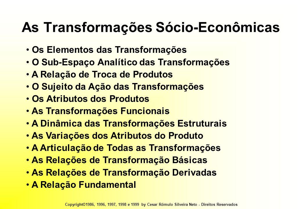 Copyright©1986, 1996, 1997, 1998 e 1999 by Cesar Rômulo Silveira Neto - Direitos Reservados As Transformações Sócio-Econômicas • Os Elementos das Transformações • O Sub-Espaço Analítico das Transformações • A Relação de Troca de Produtos • O Sujeito da Ação das Transformações • Os Atributos dos Produtos • As Transformações Funcionais • A Dinâmica das Transformações Estruturais • As Variações dos Atributos do Produto • A Articulação de Todas as Transformações • As Relações de Transformação Básicas • As Relações de Transformação Derivadas • A Relação Fundamental