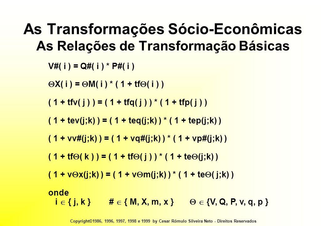 Copyright©1986, 1996, 1997, 1998 e 1999 by Cesar Rômulo Silveira Neto - Direitos Reservados As Transformações Sócio-Econômicas As Relações de Transformação Básicas V#( i ) = Q#( i ) * P#( i )  X( i ) =  M( i ) * ( 1 + tf  ( i ) ) ( 1 + tfv( j ) ) = ( 1 + tfq( j ) ) * ( 1 + tfp( j ) ) ( 1 + tev(j;k) ) = ( 1 + teq(j;k) ) * ( 1 + tep(j;k) ) ( 1 + vv#(j;k) ) = ( 1 + vq#(j;k) ) * ( 1 + vp#(j;k) ) ( 1 + tf  ( k ) ) = ( 1 + tf  ( j ) ) * ( 1 + te  (j;k) ) ( 1 + v  x(j;k) ) = ( 1 + v  m(j;k) ) * ( 1 + te  ( j;k) ) onde i  { j, k } #  { M, X, m, x }   {V, Q, P, v, q, p }