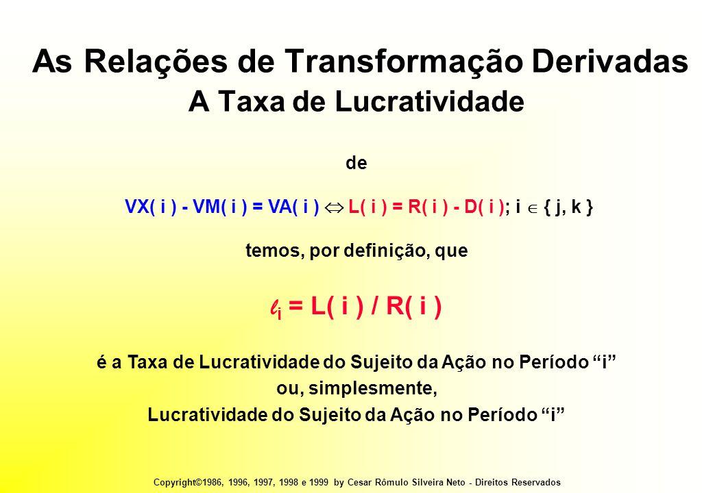 Copyright©1986, 1996, 1997, 1998 e 1999 by Cesar Rômulo Silveira Neto - Direitos Reservados As Relações de Transformação Derivadas A Taxa de Lucratividade de VX( i ) - VM( i ) = VA( i )  L( i ) = R( i ) - D( i ); i  { j, k } temos, por definição, que l i = L( i ) / R( i ) é a Taxa de Lucratividade do Sujeito da Ação no Período i ou, simplesmente, Lucratividade do Sujeito da Ação no Período i