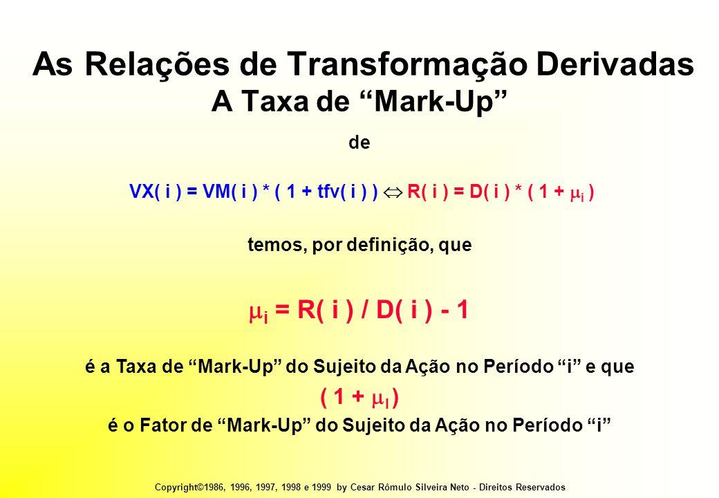 Copyright©1986, 1996, 1997, 1998 e 1999 by Cesar Rômulo Silveira Neto - Direitos Reservados As Relações de Transformação Derivadas A Taxa de Mark-Up de VX( i ) = VM( i ) * ( 1 + tfv( i ) )  R( i ) = D( i ) * ( 1 +  i ) temos, por definição, que  i = R( i ) / D( i ) - 1 é a Taxa de Mark-Up do Sujeito da Ação no Período i e que ( 1 +  I ) é o Fator de Mark-Up do Sujeito da Ação no Período i