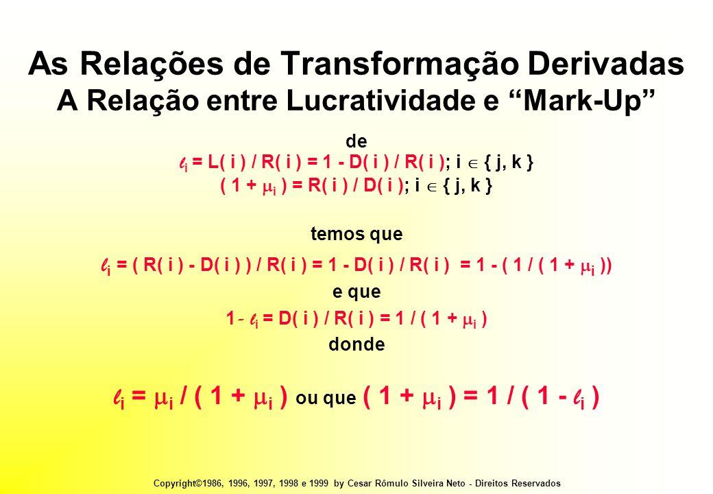 Copyright©1986, 1996, 1997, 1998 e 1999 by Cesar Rômulo Silveira Neto - Direitos Reservados As Relações de Transformação Derivadas A Relação entre Lucratividade e Mark-Up de l i = L( i ) / R( i ) = 1 - D( i ) / R( i ); i  { j, k } ( 1 +  i ) = R( i ) / D( i ); i  { j, k } temos que l i = ( R( i ) - D( i ) ) / R( i ) = 1 - D( i ) / R( i ) = 1 - ( 1 / ( 1 +  i )) e que 1 - l i = D( i ) / R( i ) = 1 / ( 1 +  i ) donde l i =  i / ( 1 +  i ) ou que ( 1 +  i ) = 1 / ( 1 - l i )