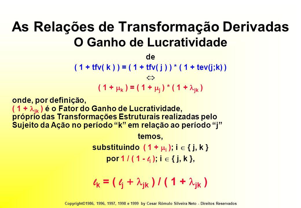 Copyright©1986, 1996, 1997, 1998 e 1999 by Cesar Rômulo Silveira Neto - Direitos Reservados As Relações de Transformação Derivadas O Ganho de Lucratividade de ( 1 + tfv( k ) ) = ( 1 + tfv( j ) ) * ( 1 + tev(j;k) )  ( 1 +  k ) = ( 1 +  j ) * ( 1 +  jk ) onde, por definição, ( 1 +  jk ) é o Fator do Ganho de Lucratividade, próprio das Transformações Estruturais realizadas pelo Sujeito da Ação no período k em relação ao período j temos, substituindo ( 1 +  i ); i  { j, k } por 1 / ( 1 - l i ); i  { j, k }, l k = ( l j +  jk ) / ( 1 +  jk )