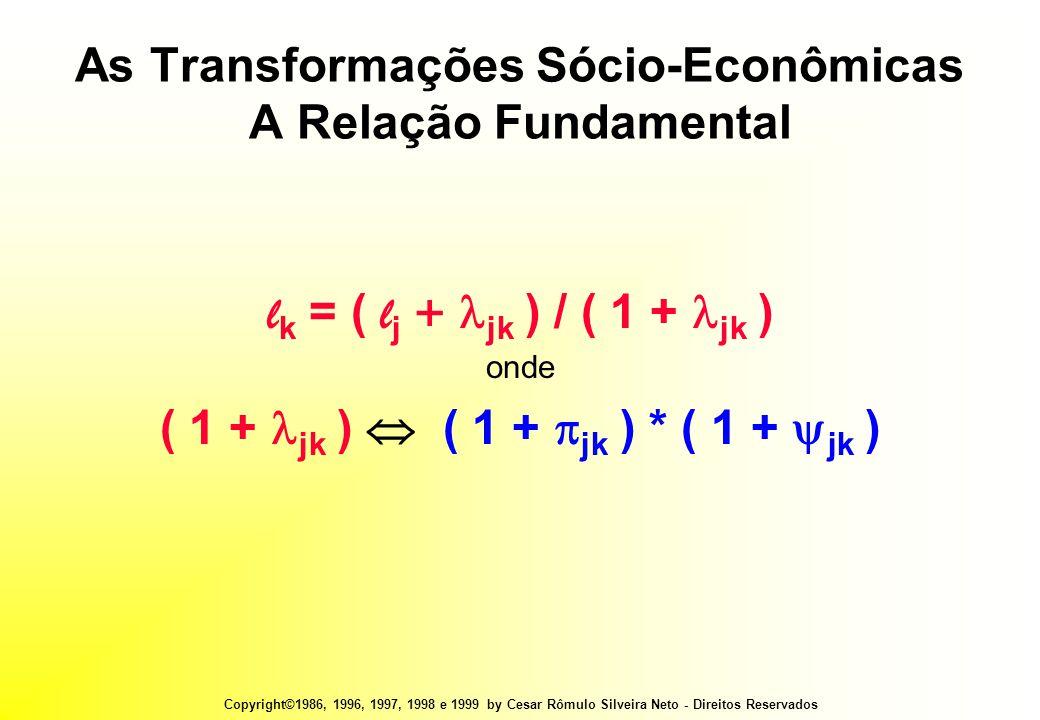 Copyright©1986, 1996, 1997, 1998 e 1999 by Cesar Rômulo Silveira Neto - Direitos Reservados As Transformações Sócio-Econômicas A Relação Fundamental l k = ( l j +  jk ) / ( 1 +  jk ) onde ( 1 +  jk )  ( 1 +  jk ) * ( 1 +  jk )