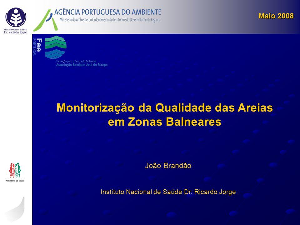 Maio 2008 Monitorização da Qualidade das Areias em Zonas Balneares João Brandão Instituto Nacional de Saúde Dr. Ricardo Jorge