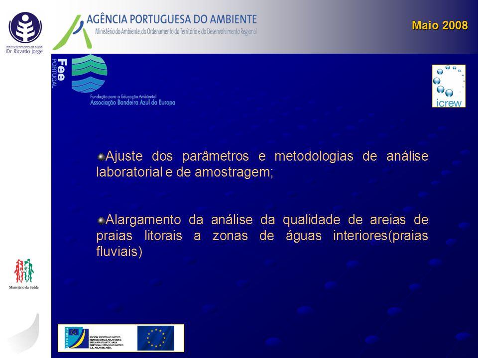 Ajuste dos parâmetros e metodologias de análise laboratorial e de amostragem; Alargamento da análise da qualidade de areias de praias litorais a zonas
