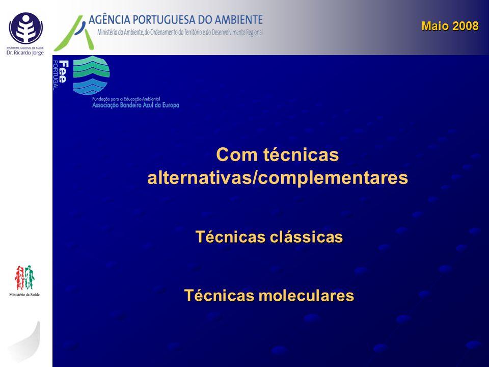 Maio 2008 Técnicas clássicas Técnicas moleculares Com técnicas alternativas/complementares